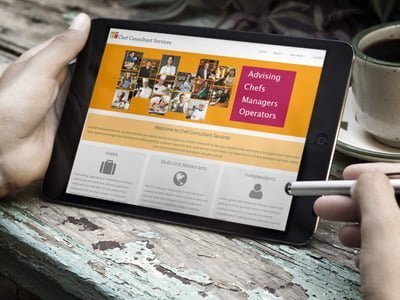Chef Consultant Services Website on a Tablet
